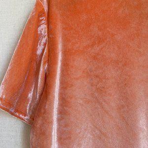 Vintage Tops - Vintage 1990's Y2K Orange Creamsicle Velvet Tee L
